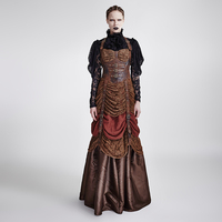 Steam Punk Retro Hanging Neck Dress Medieval Palace Style Women Halter Long Dress Coffee