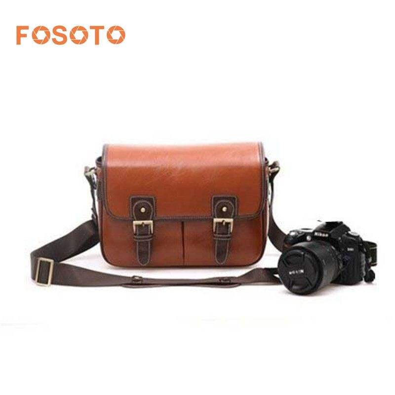 Fosoto Waterproof Vintage PU Leather DSLR Camera Bag Cross Body Portable Case Fit DSLR with 2 lenses For Canon DSLR Camera цены онлайн