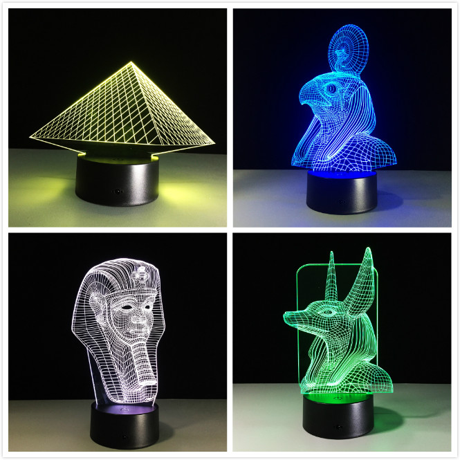 Egypt Anubis 3D Lamp LED Night Light Illusion 7 Colors Changed Xmas Toy Gift USB Lights Drop Shipping Fast Door To Door