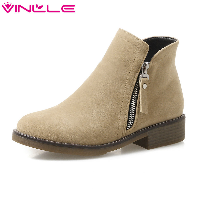 VINLLE 2018 Women Boots Winter Shoes Ankle Boots Zipper Fashion Square Low Heel Round Toe Ladies Motorcycle Shoes Size 34-43 enmayla ankle boots for women low heels autumn and winter boots shoes woman large size 34 43 round toe motorcycle boots