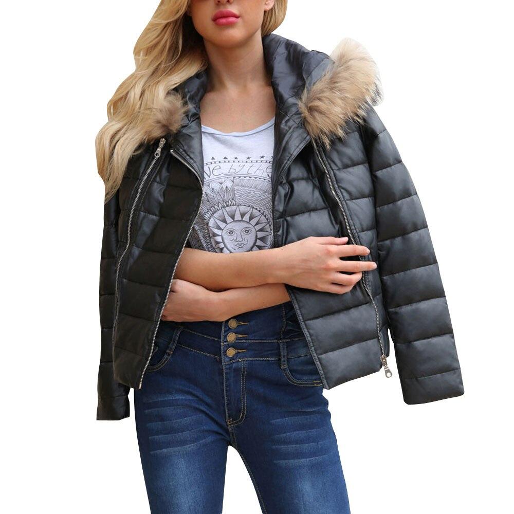 Mujeres Coat Black Invierno Oversize Fur Tendencia Capucha Abrigos Faux  Cremallera Cuero De Con Chaqueta Mujer Caliente Piel REwg55q 6a9005b621f1