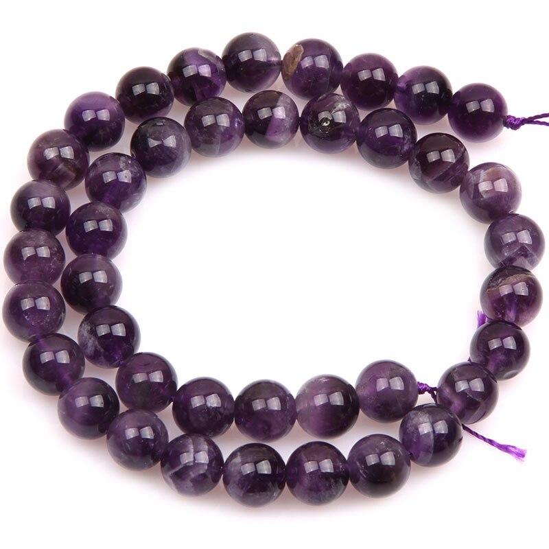 Круглые бусины фиолетового кружевного аметиста, незакрепленные бусины из натурального камня для изготовления ювелирных украшений, нитка 15 дюймов - Цвет: 10mm