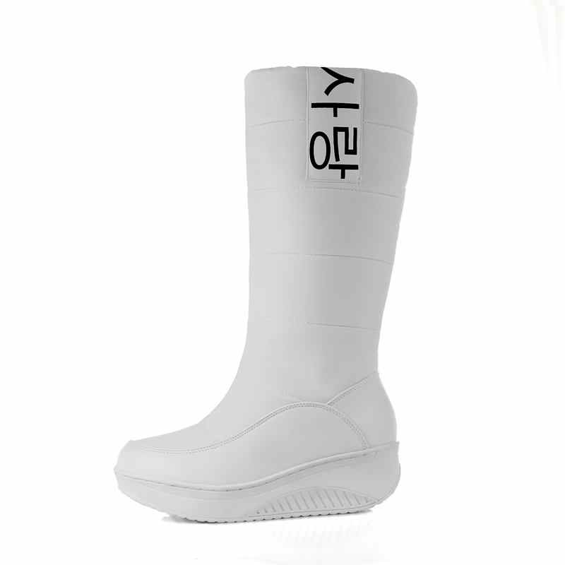 MEMUNIA BOYUTU 35-44 Bayan kar botları takozlar topuklar üzerinde kayma kadın kışlık botlar kürk orta buzağı botları kadın tatlı pamuklu ayakkabılar
