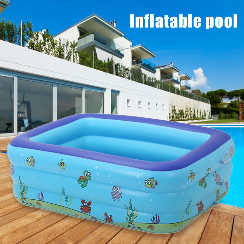 Piscines portatives pour enfants baignoire gonflable bébé piscine rectangulaire exploser piscines enfants jouets d'eau en plastique dur pour les fêtes