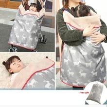 Детское одеяло для коляски, детское одеяло для пеленания, детский теплый спальный мешок, детское зимнее кашемировое одеяло, водонепроницаемый чехол для переноски ребенка