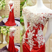 Sparky Red Sequined Evening Party Dresses 2017 off Shoulder Rhinestones Mermaid Prom Dress Special Occasion Formal Gowns Lace up