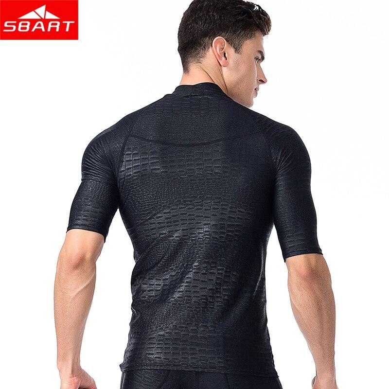 SBART Men Short Sleeved Rashguard Shirt Surf Pants Rash Guards UV Protection Sunscreen Beach Diving snorkeling Swimming trunks