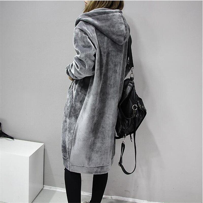 2020 Autumn New Women Thick Warm Hooded Basic Coats jacket Casual Lady Winter Long Fashion 2