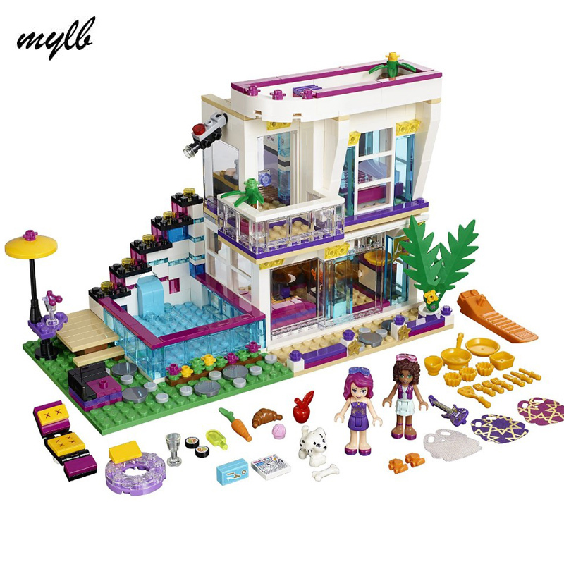 mylb Friends Series Livi's Pop Star House Building Blocks Andrea mini-doll figures Toy Compatible With Friends drop shipping figures houses girl friends stephanie mia olivia andrea emma andrea blocks learning toy gift compatible with with friends gift