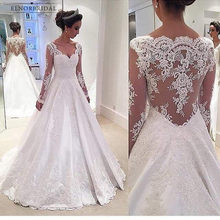 4eddf490df2 Элегантный с длинным рукавом кружево Свадебные платья 2019 Gelinlik линии  Индивидуальный Заказ Интернет магазин Китай Vestido