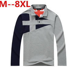 Plus size 8xl 7xl 6xl 5xl 4xl Brand Men polo shirt Solid Color Long-Sleeve Slim Fit Shirt Men Cotton polo Shirts Casual Shirts