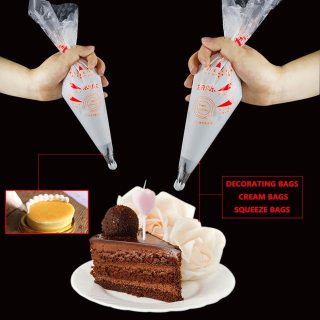 Usa e getta di plastica pasticceria Piping Bag 100 Pz/borsa Wedding Cake Decorating Strumento Glassa Nozzle Fondente Crema Pasticceria Suggerimento