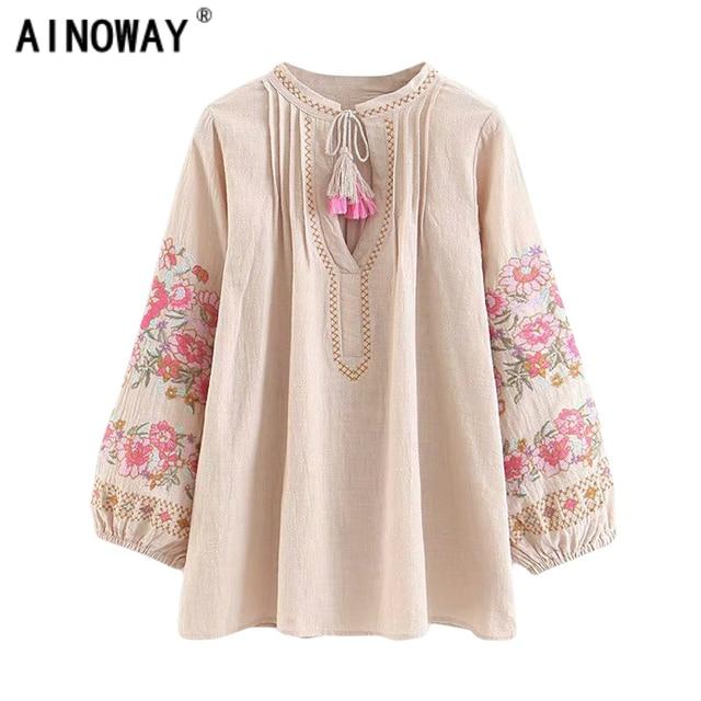 d6ea5053a65d4 US $18.25 17% OFF|Aliexpress.com : Buy Spring women bohemian Tassel shirt  cute beach floral embroidery linen cotton blouse shirt flare sleeve loose  ...