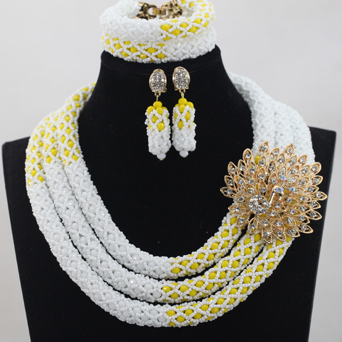 Exclusive White Indian Wedding Bridal Jewelry Set Yellow African Women Costume Party Handmade Necklace Jewelry Set Gifts QW379