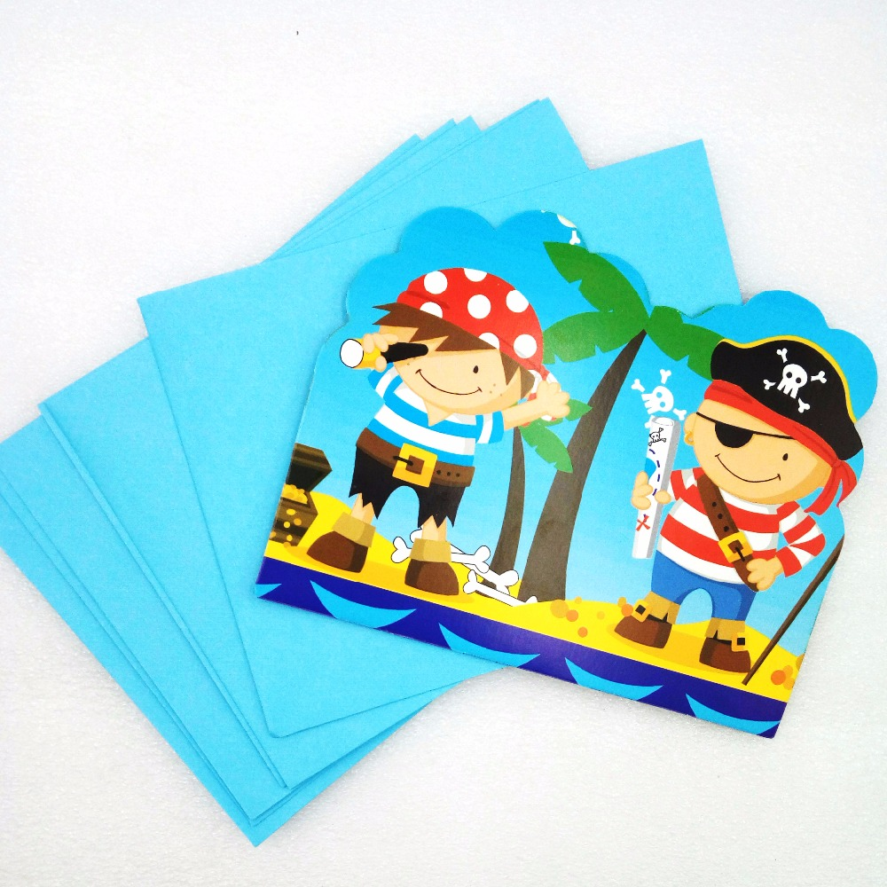 6pcs/bag Cartoon Pirate Party Supplies Invitation Cards Birthday Party Decorations Birthday Party Decorations Kids Set