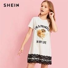Шеин Kiddie белый контраст кружево отделкой рисунок повседневное футболка для девочек подростков платье 2019 Летние Детские платья