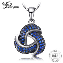JewelryPalace Fashion Created Blue Spinel Flower Pendants for Women Genuine 925 Sterling Silver Fine Jewelry NOT