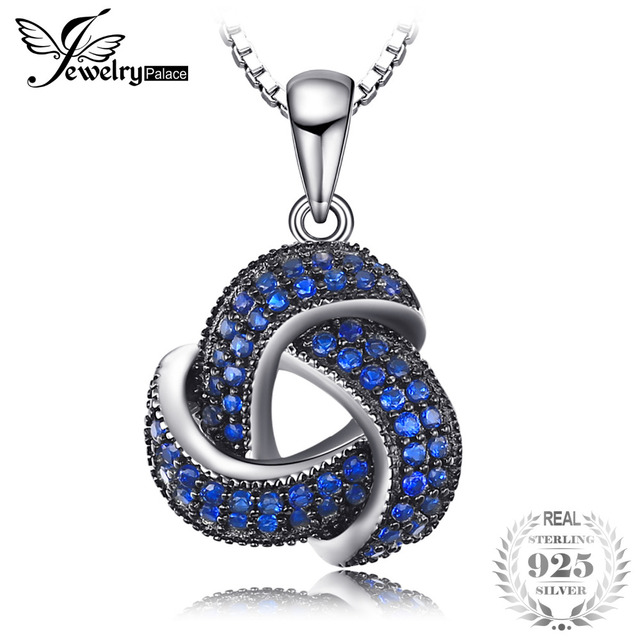 JewelryPalace Fashion Created Blue Spinel Flower Pendants for Women Genuine 925 Sterling Silver Fine Jewelry NOT include a CHAIN