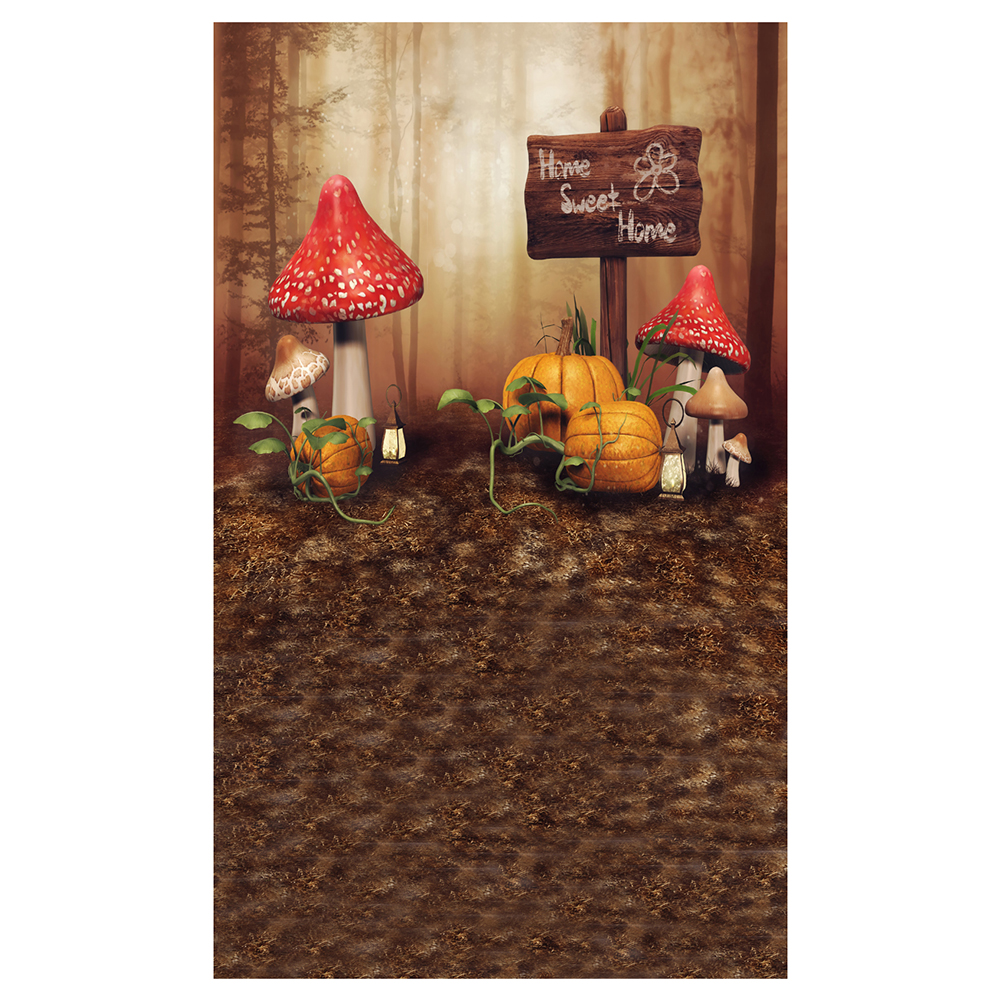 Vinyl Photography Background Photo Backdrops Magic Theme Horror Fog Trees, Mushrooms, Pumpkin, Light, Wooden Road Sign Home S