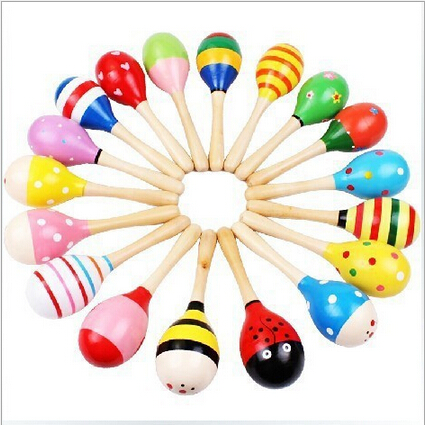 3Pcs Wooden Maraca Wood Rattles Kids Musical Party favor Child Baby shaker Toy Hot Baby Baby Rattles Mobiles free shipping