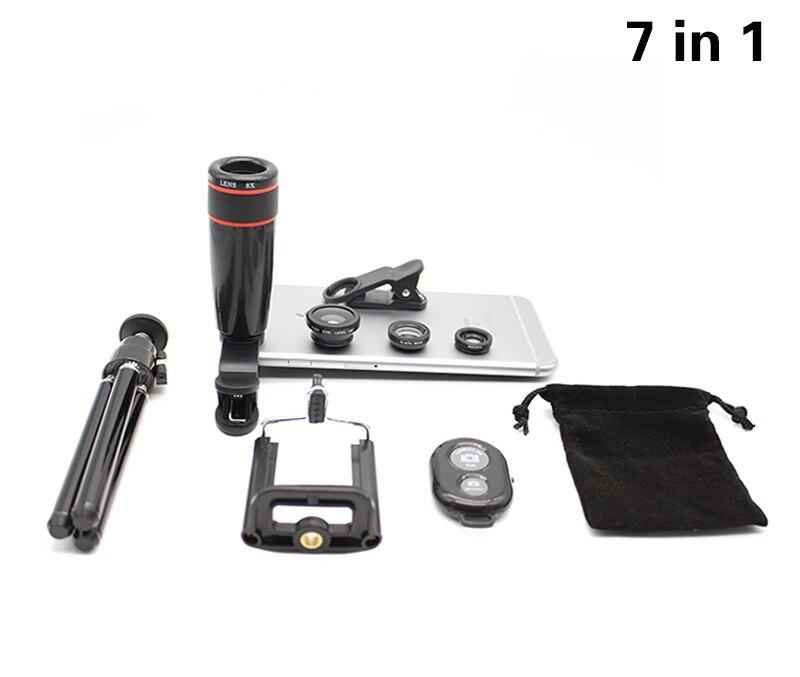 imágenes para 7en1 Cámara Lentes Telescopio 8x Zoom Óptico Teleobjetivo 3in1 Ojo de Pez de Ancho Lente gran angular y Macro Trípode Para el iphone 6 s 7 Más 5 5S sí