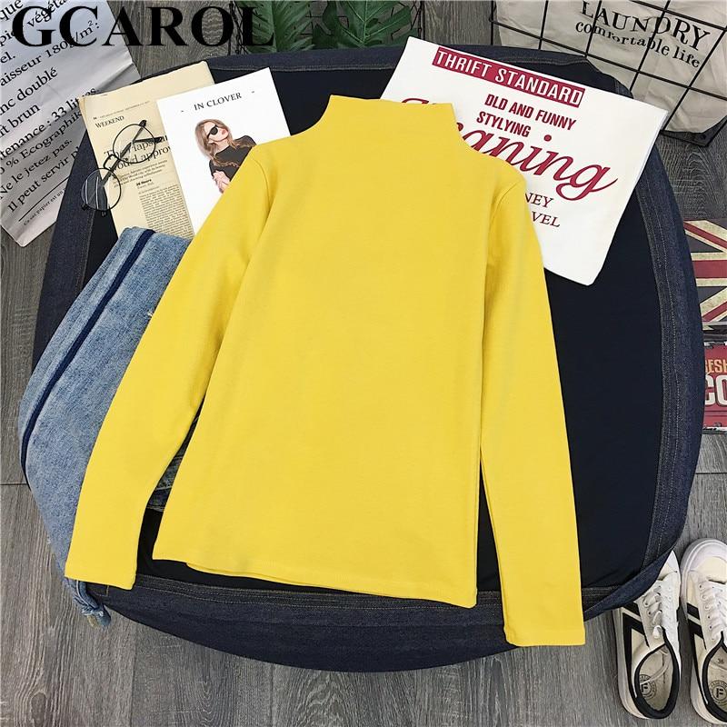 GCAROL 2019 Women Stand Collar Candy Shirt Stretch Basic Tops Undershirt Render Garment Fall Winter Thick Fleece Tops Pullover