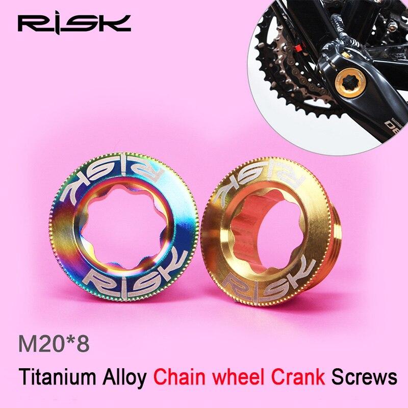 RISK M20x8mm Titanium Alloy Bike Crankset Arm Bolts Chain <font><b>Wheel</b></font> Crank Screws Threads for MTB Mountain Bicycle Crank Arm M20*8 mm