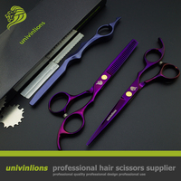 Univin 5 5 Brand Scissor HRC60 Double Color Hair Scissor Razor Shear And Thinning Shear Set
