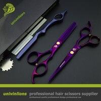 Univin 5 5 Brand Scissor HRC60 Double Color Hair Scissor Razor Shear And Thinning Shear Set