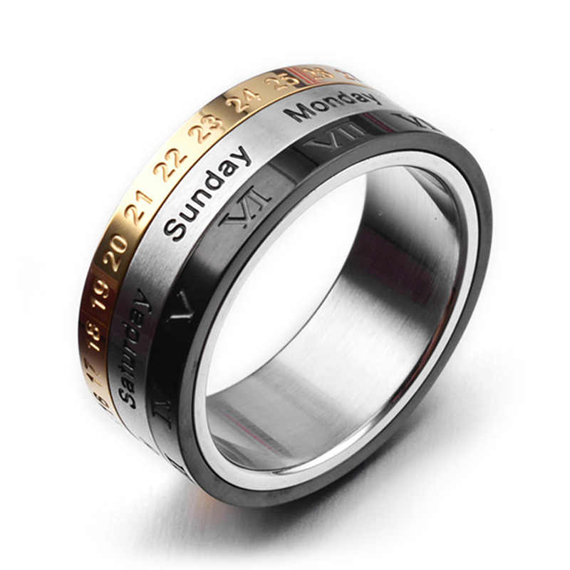 Mens Ring With Month Day Date Unique Spinner Stainless Steel Rings
