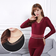 2pcs Suit Slim Ladies lace embroidery Underwear Thermal Bottoms Thin Bottoming Shirt Neck Women Underwears Tops+Pants