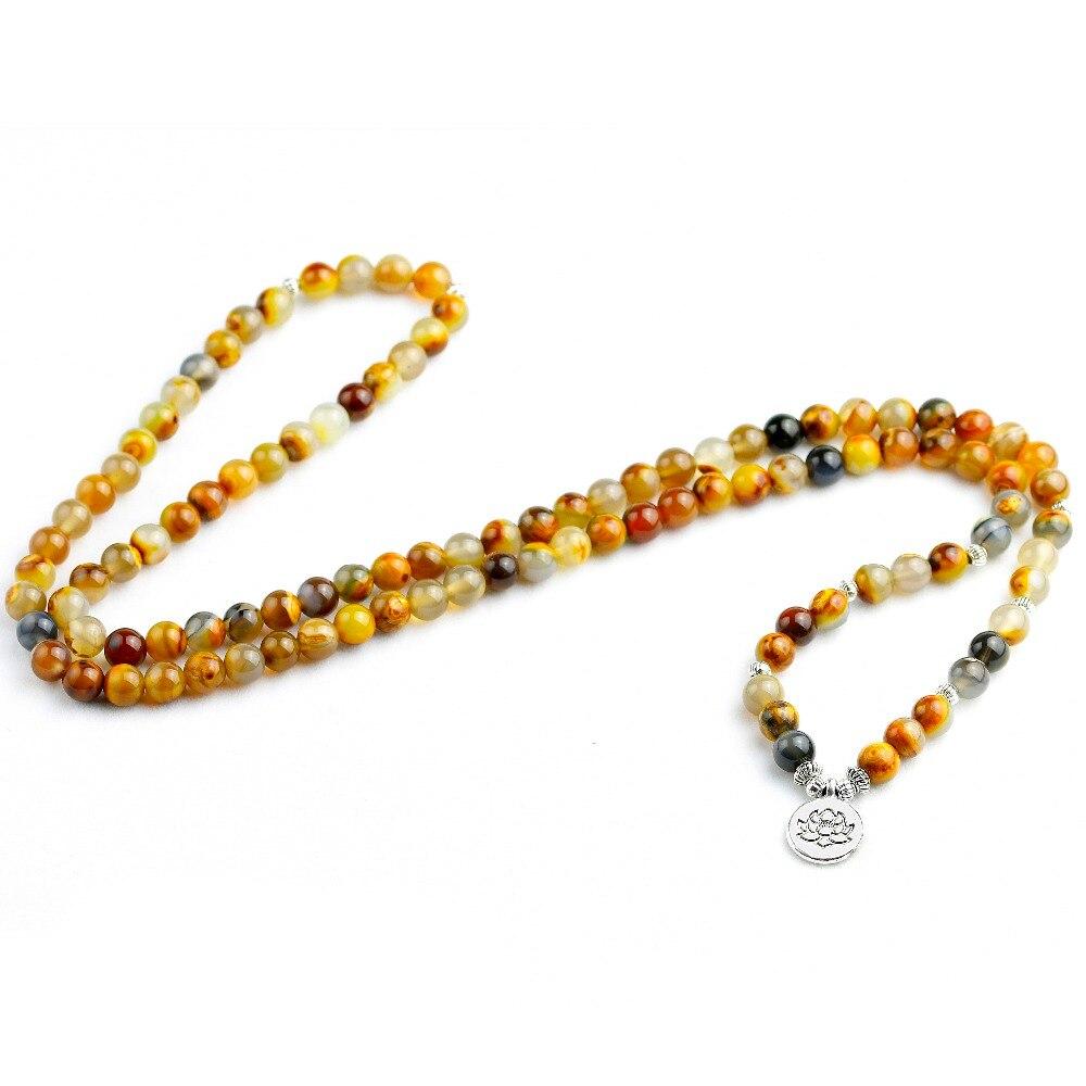591805f751eb Comprar Amarillo Natural Flor de piedra pulsera de cuentas para hombres  mujeres 108 Mala Yoga pulsera o collar Ohm encanto joyería de la energía  Online ...