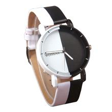 Casual Unisex Black and White Round Dial Pointer Quartz Wrist Watch Lovers Gift Couple Wristwatch Watches