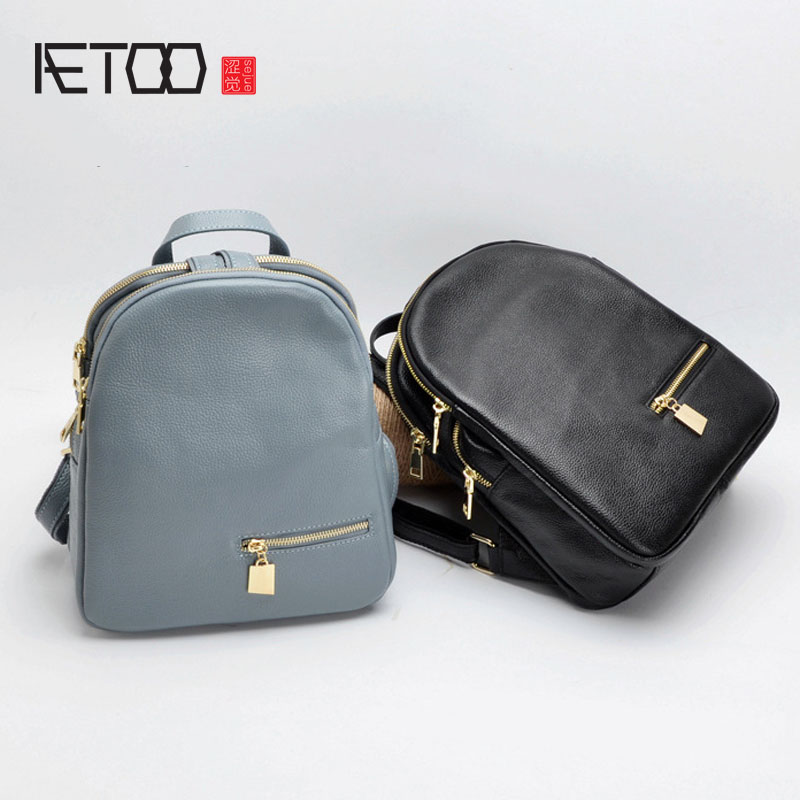 AETOO 2017 new shoulder bag female leather Korean fashion multi-compartment backpack head layer cowhide soft leisure