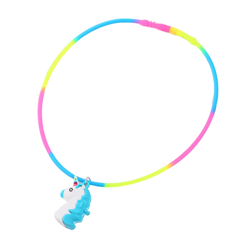 Rainbow Unicorn Pendant Necklaces Rubber Toys Birthday Party Children Girls Best Friend Friendshipe Chain Jewelry Accessories
