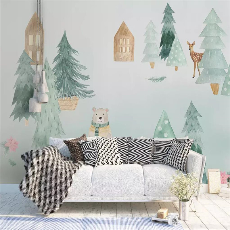HD Modern Scandinavian Style Elegant Blue Background Professional Production Mural Photo Wallpaper Can Be Customized