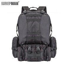 Indepman 600D Nylon Fabric Outdoor Military Molle Tactical Bag Rucksack Backpack 55L Capacity For Climbing Hiking Camping.
