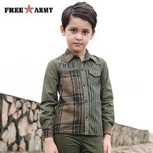 FreeArmy Brand Spring Boys Shirt Plaid Long Sleeve Pure Cotton Tops Tees Childrens Letter Printing Tshirts 110-160