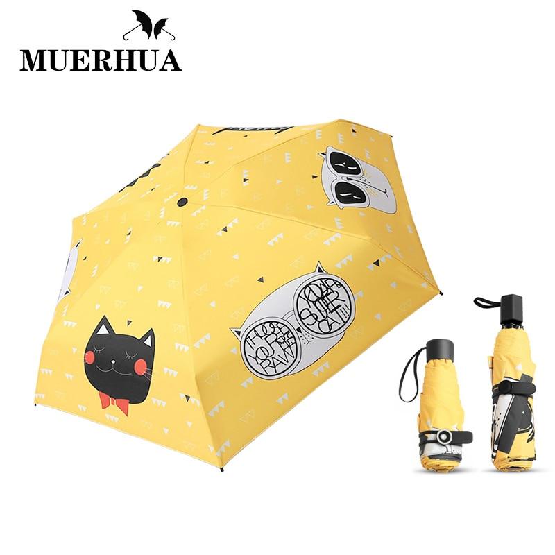 Muerhua Для женщин мода оригинальный Кот Мини УФ-зонтик маленький 3/5 складной зонтик солнечный/Дождевики и зонты солнца