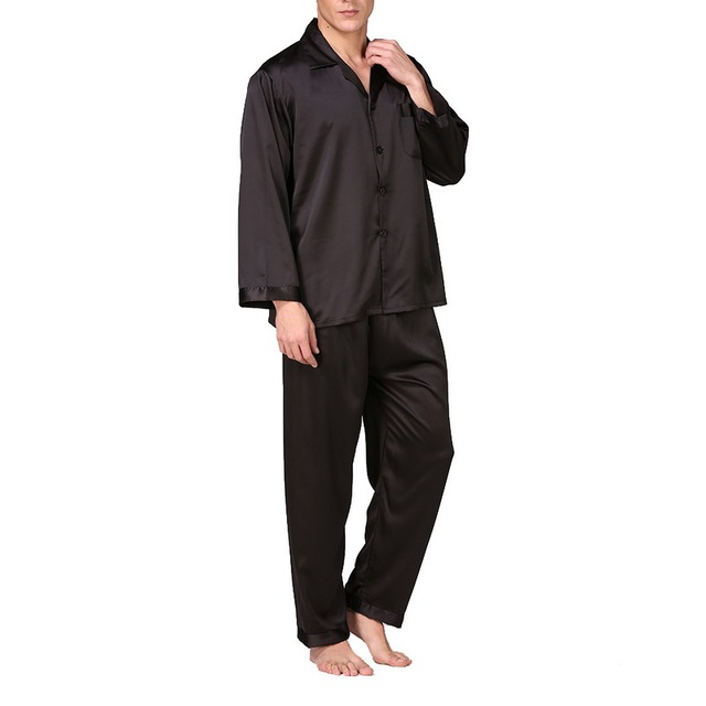 Laamei Men's Spring Autumn And Summer Classic Pajamas Pajama Set Men's Silk Solid Color Long Sleeve Large Size Home Service