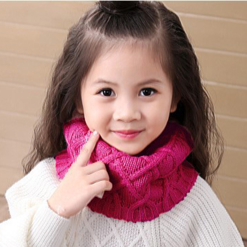 Cute Cotton Winter Baby Neck Ring Scarf LICs Children Girls Boys Knitted Wool O-Scarves Kids Solid Color Warm Snood Man Women