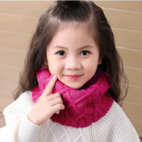 NUOYATEWEIDE Cute Cotton Winter Baby Neck Ring   Scarf   LICs Children Girls Boys Knitted Wool O-  Scarves   Kids Solid Color Warm Snood