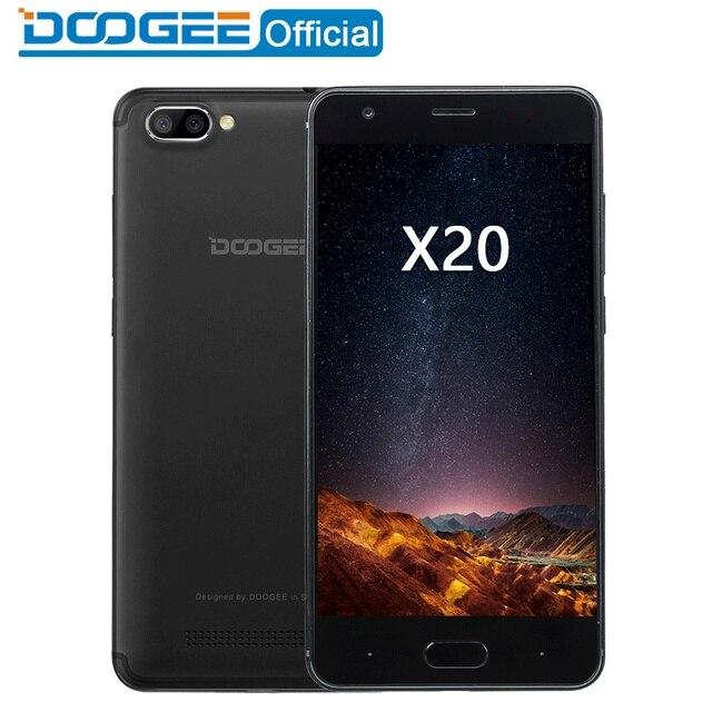 DOOGEE X20 נייד טלפון MTK6580A Quad Core 1 GB RAM 16 GB ROM כפולה מצלמה 5.0MP + 5.0MP אנדרואיד 7.0 2580 mAh 5.0 ''HD Smartphone WCDMA