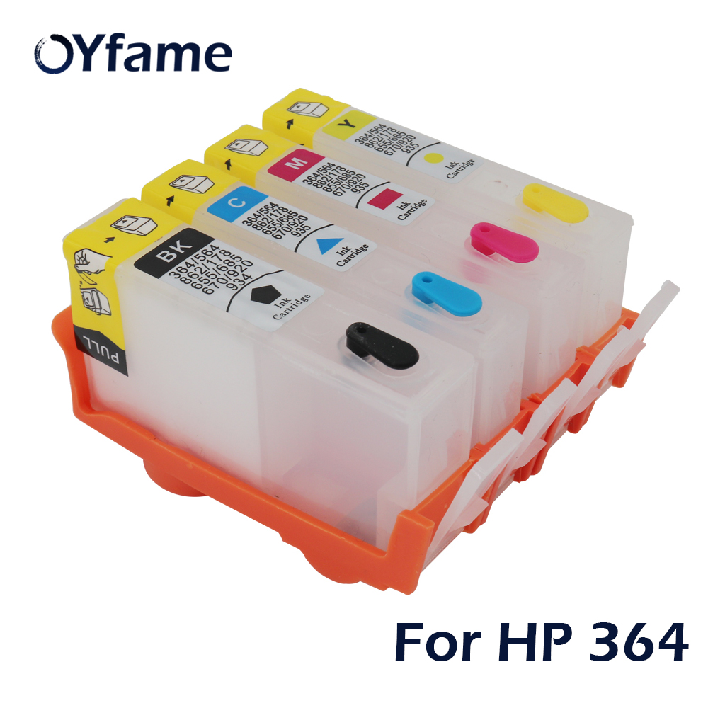 OYfame 4PCS for HP364 Refillable Ink Cartridge with Permanent Chip for <font><b>HP</b></font> <font><b>364</b></font> 364XL Photosmart B109a B110a B110c B110e B209a image
