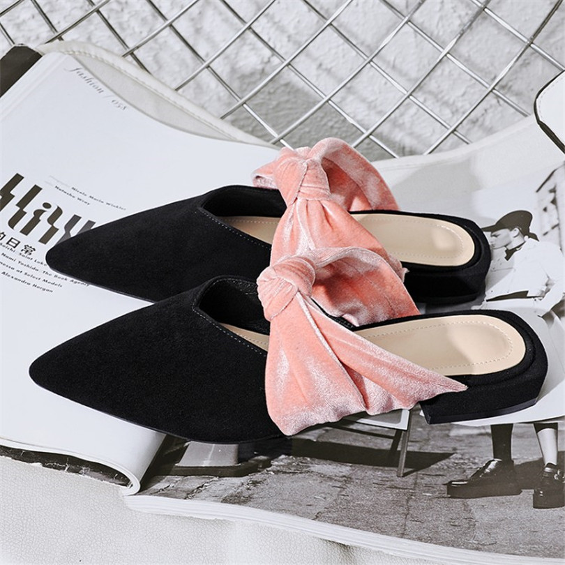 MIQUINHA Flock Pointed Toe Handmade Fashion Sweet Women Summer Shoes Sandals Slingbacks Pink Butterfly Knot Cross Tied Sandals new 2017 spring summer women shoes pointed toe high quality brand fashion womens flats ladies plus size 41 sweet flock t179