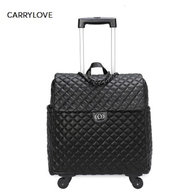 Fashion high quality fashion 18 inch Portable female Luggage Spinner brand Travel Suitcase handbag bag