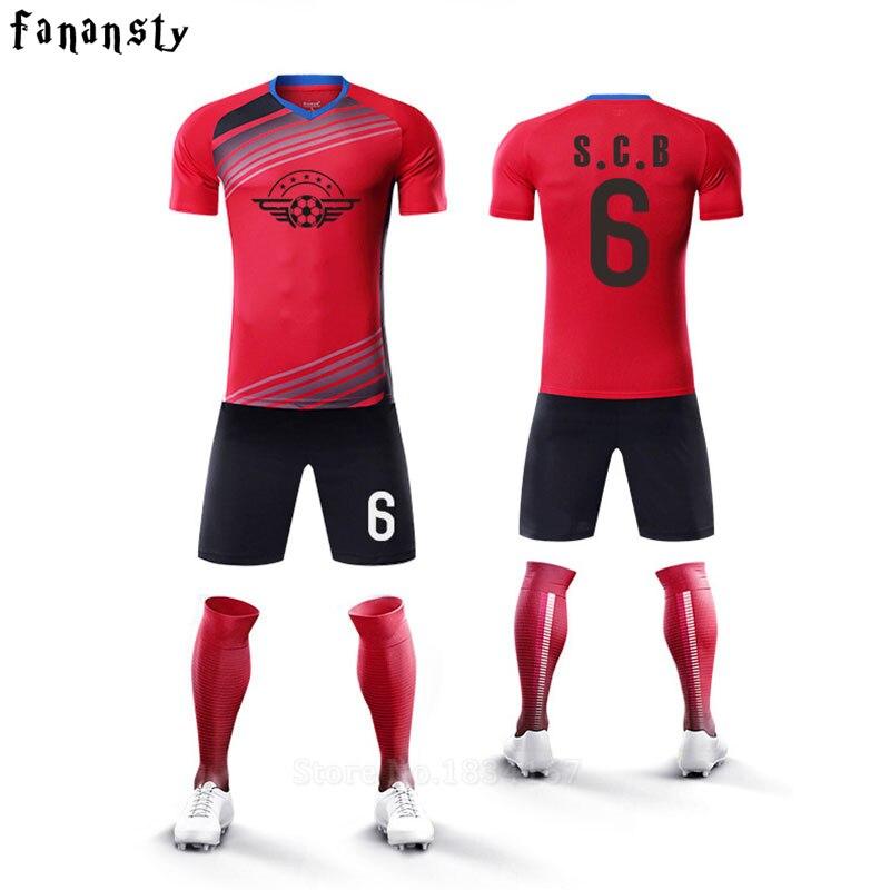 Camisas de futebol da faculdade dos homens personalizado conjuntos de  treinamento de futebol barato kit uniformes de futebol juvenil adulto homens  ... 1fa1d2f140687