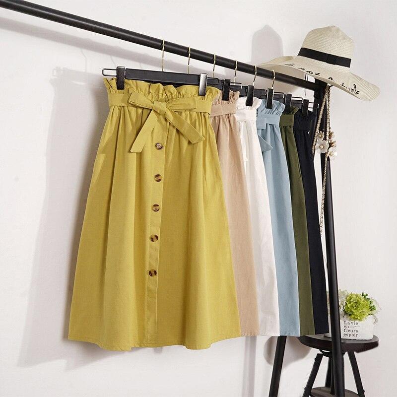 Summer Autumn Skirts Womens 2018 Midi Knee Length Korean Elegant Button High Waist Skirt Female Pleated School Skirt Jupe Femme
