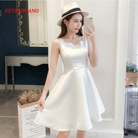 2018 New Brief Women Small Dress Short Dinner Birthday Party Dresses White L0884