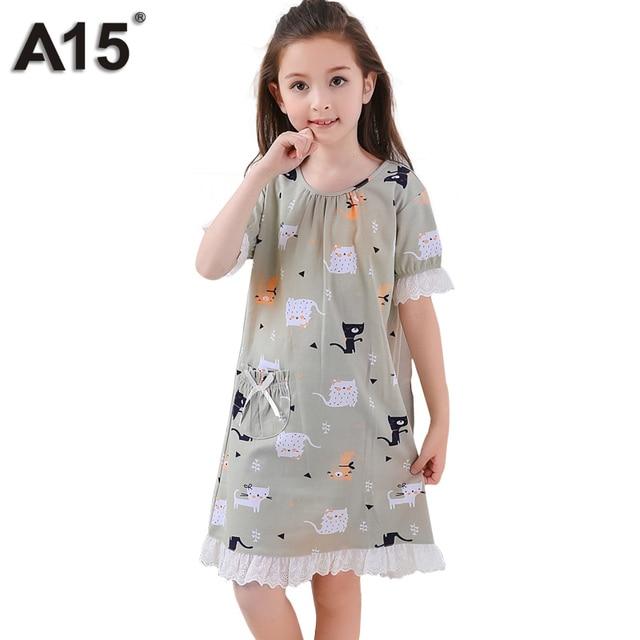 A15 новые модные летние пижамы для девочек Домашняя одежда платье Детская  Пижама детская одежда для сна 1cf02df9726e7